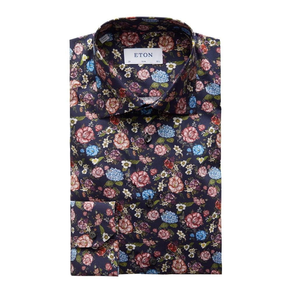 Eton Slim Fit Floral Print Shirt Navy