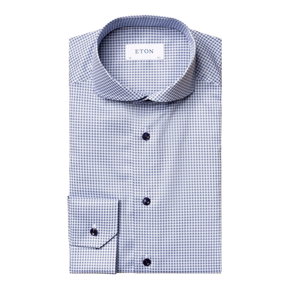 Eton Slim Fit Mini Flower Print Shirt With Blue Buttons Blue and White