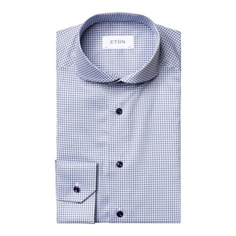 Eton Slim Fit Mini Flower Print Shirt With Blue Buttons