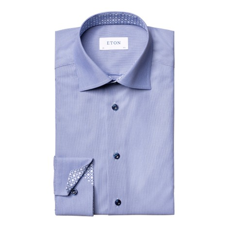 Eton Contemporary Fit Shirt With Diamond Print Collar Trim