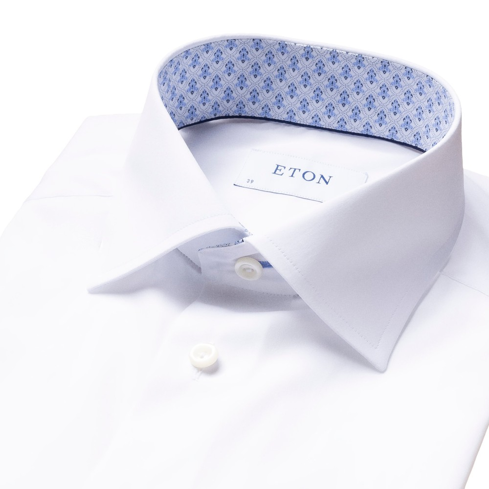 Eton Contemporary Fit Shirt With Crown Print Collar Trim White