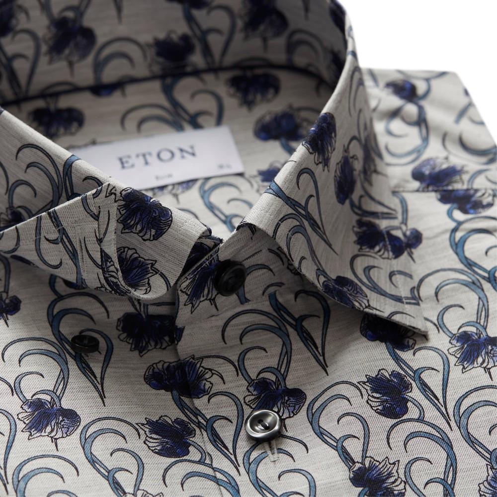 Eton Slim Fit Shirt Flower And Stem Print Grey