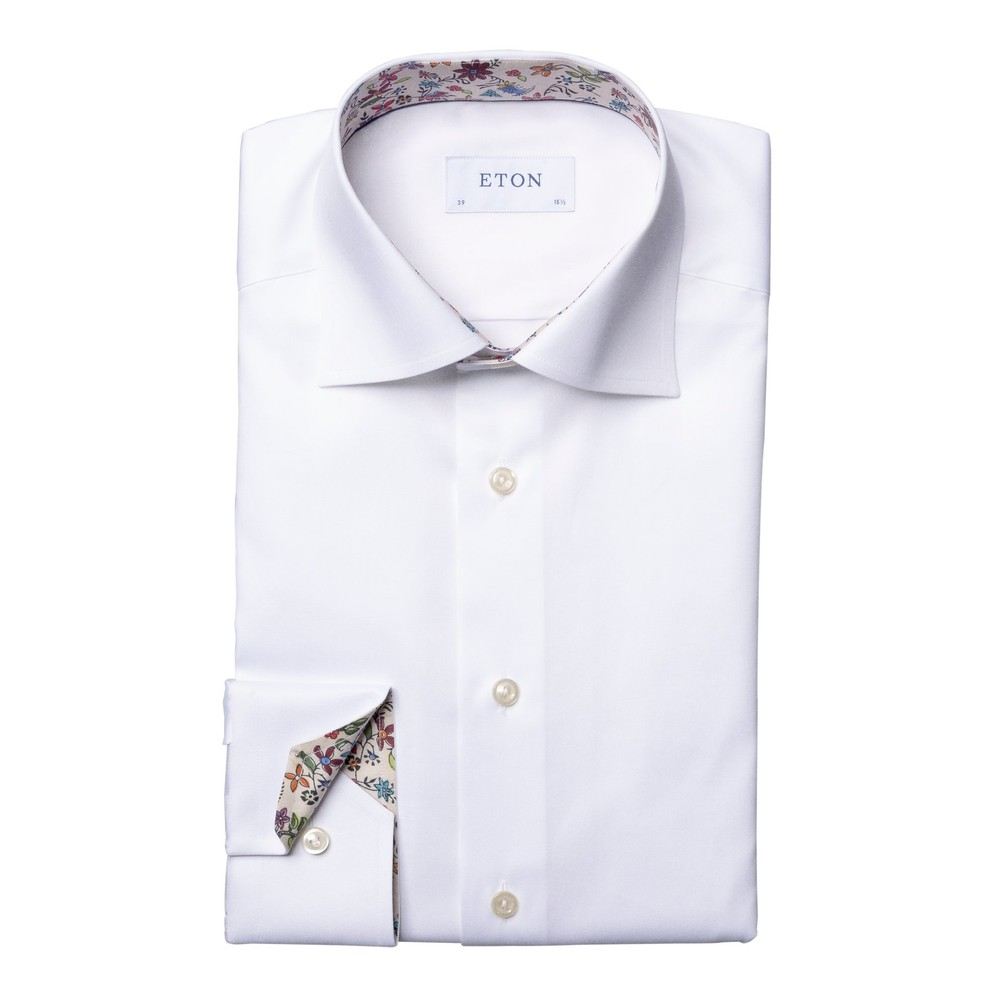 Eton Slim Fit Shirt With Flower Drawing Print Collar Trim White