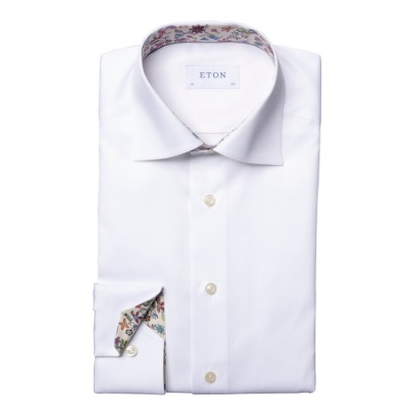Eton Slim Fit Shirt With Flower Drawing Print Collar Trim in White