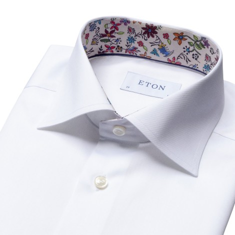 Eton Slim Fit Shirt With Flower Drawing Print Collar Trim