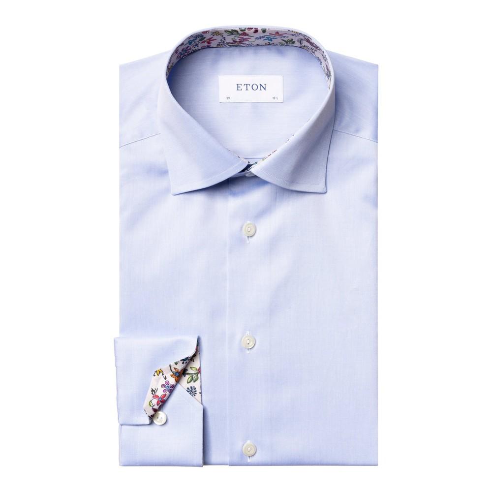 Eton Slim Fit Shirt With Flower Drawing Print Collar Trim Blue