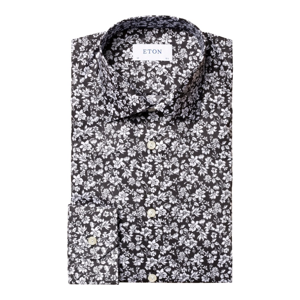 Eton Contemporary Fit All Over Flower Print Shirt Navy and White