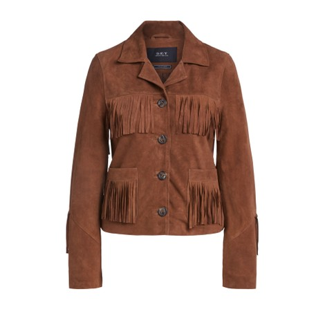 Set Suede Fringed Jacket