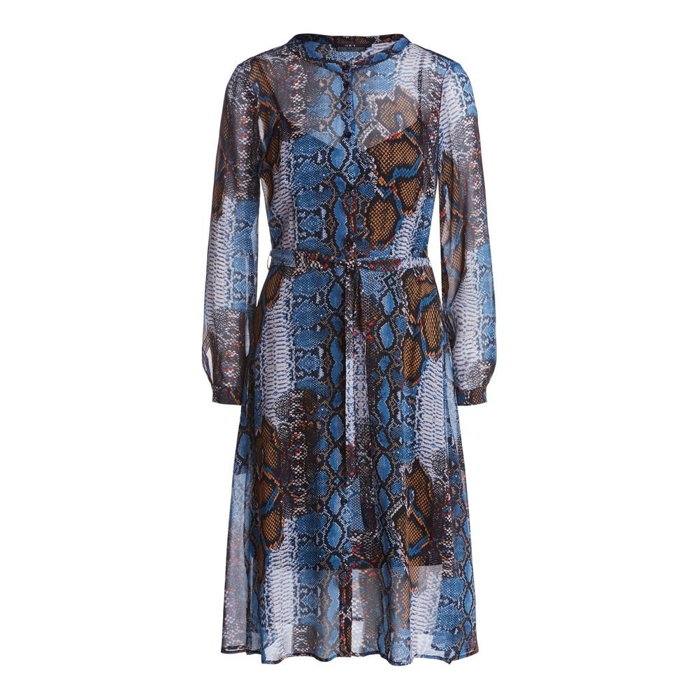 Set Snake Print Shirt Dress Blue