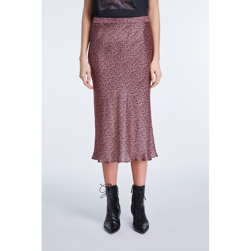 Set Floral Silk Midi Skirt Pink