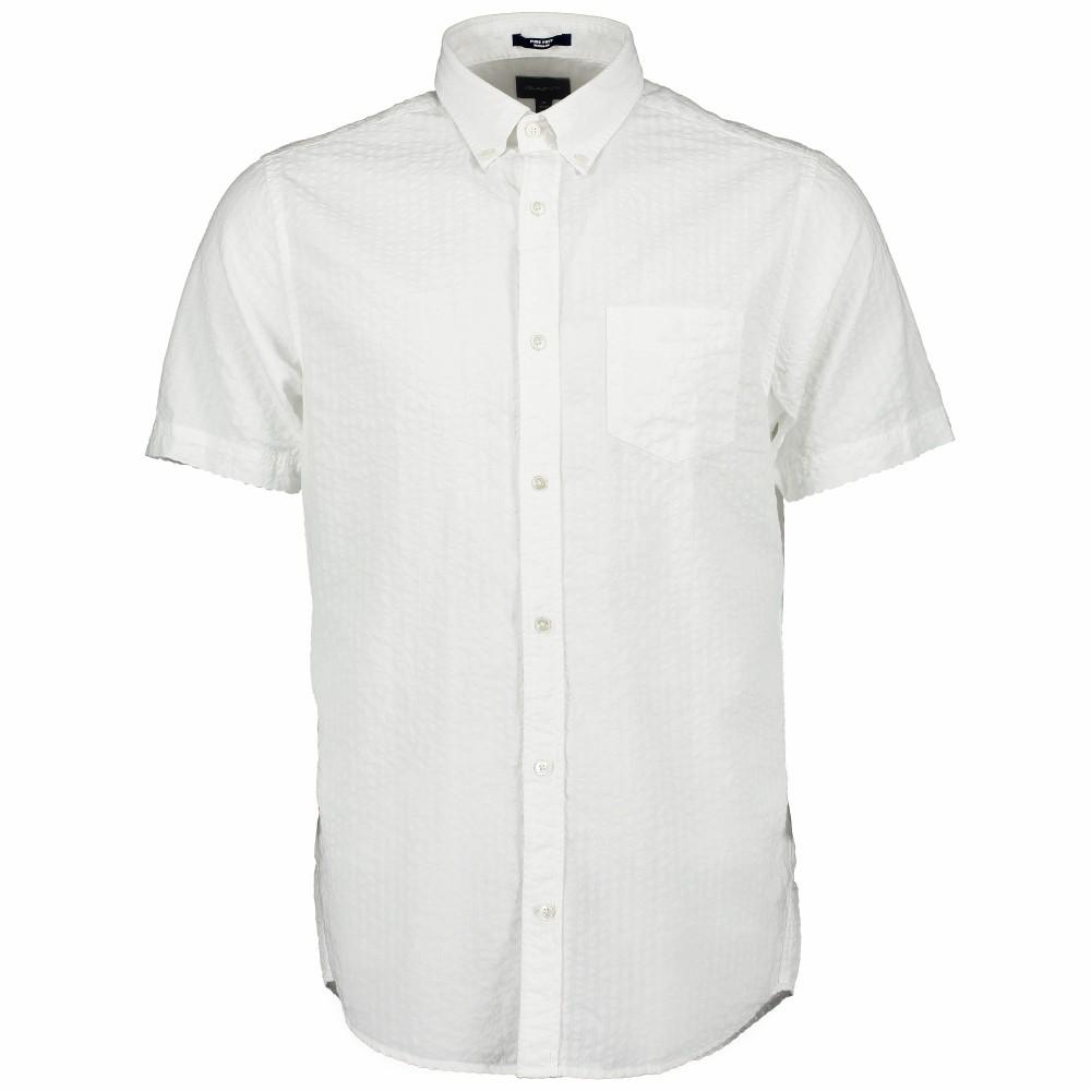 GANT D2. PP Structure Reg BD SS Shirt White