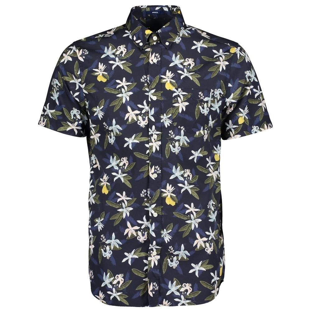 GANT D2.Lemon Flower Print Reg BD SS Shirt Navy/ Multi