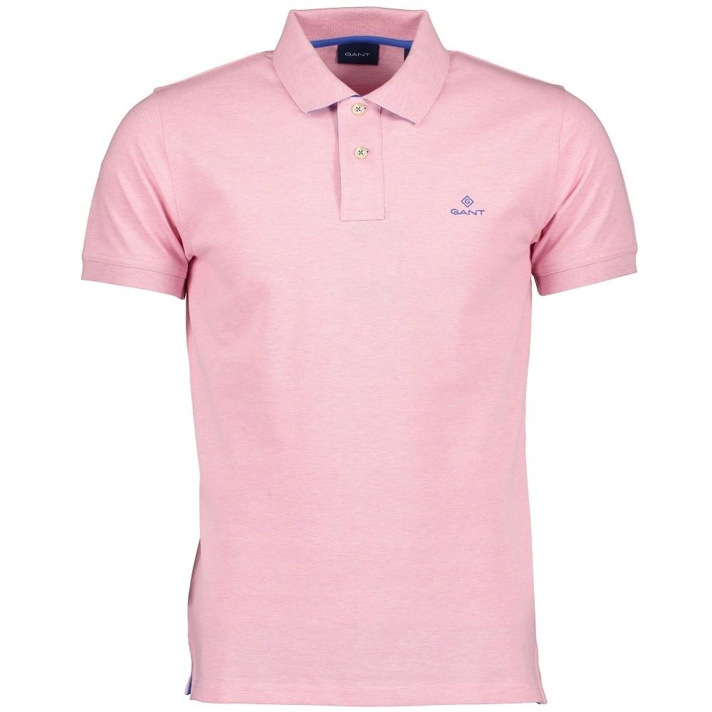 GANT Contrast Collar Pique SS Rugger Polo Pink