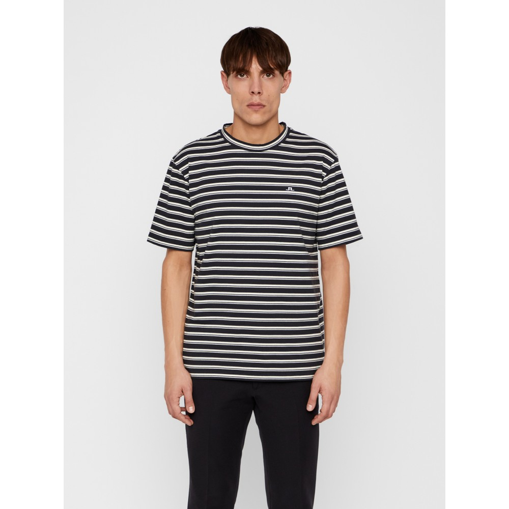 J.Lindeberg Charles-Plain Stripe T-shirt Black & White