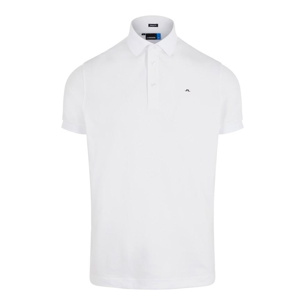 J.Lindeberg Stan Reg Fit-Club Pique Polo Shirt White