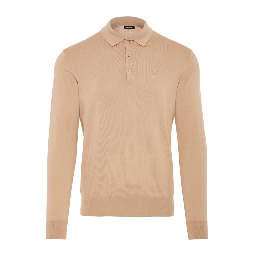 J.Lindeberg Rowan-Cotton Silk Polo Shirt Beige