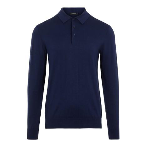 J.Lindeberg Rowan-Cotton Silk Polo Shirt in Navy