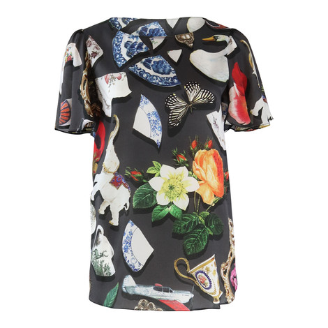 Moschino Boutique Short Sleeve Broken China Print Top