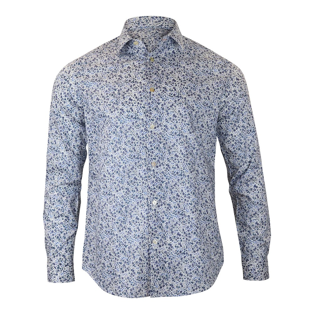 Paul Smith Gents Floral Tailored Shirt Navy and White