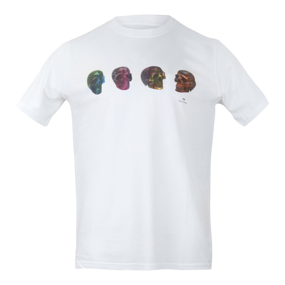 PS Paul Smith Mens Reg Fit  Skull Tee White