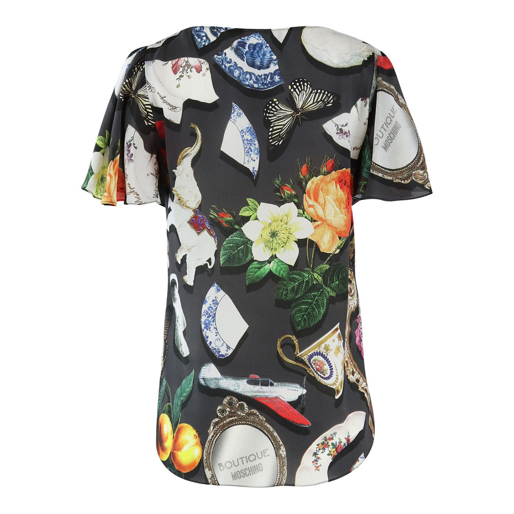 Moschino Boutique Short Sleeve Broken China Print Top Black