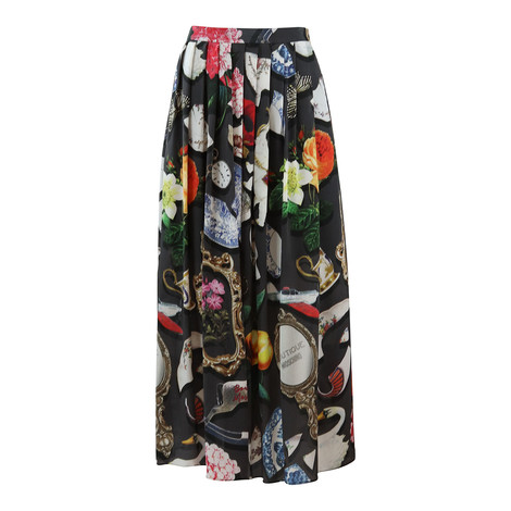 Moschino Boutique Long Full Skirt Broken China Print