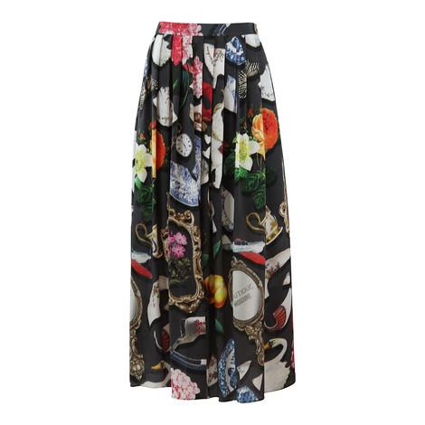 Moschino Boutique Long Full Skirt Broken China Print