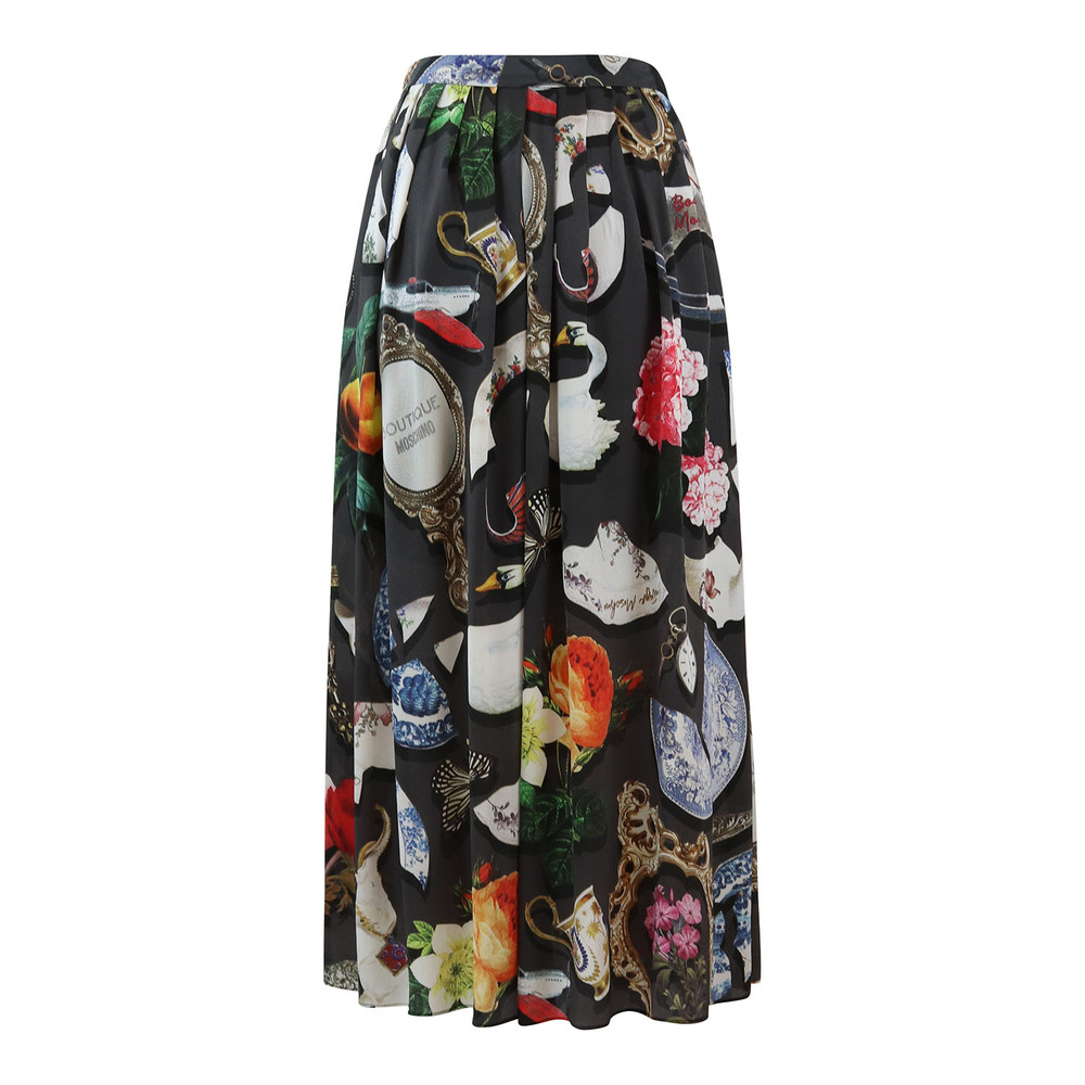 Moschino Boutique Long Full Skirt Broken China Print Black