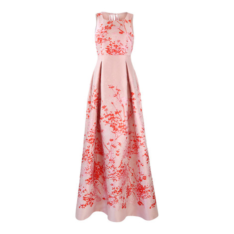 Maxmara Pink and Red Print Full Mesh Back Evening Dress