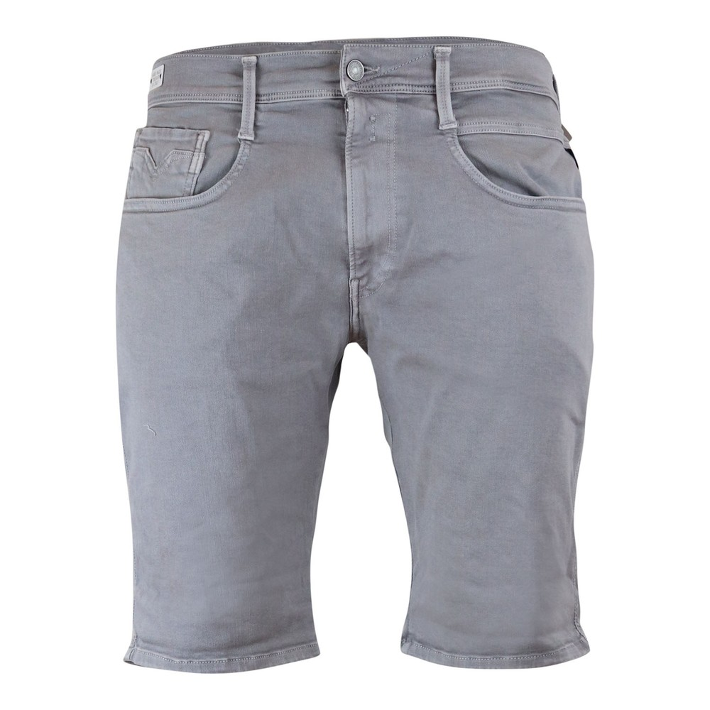 Replay Anbass Hyperflex Stretch Denim Shorts Grey