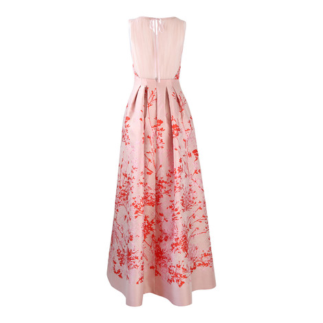 Maxmara Pink and Red Print Full Mesh Back Evening Dress