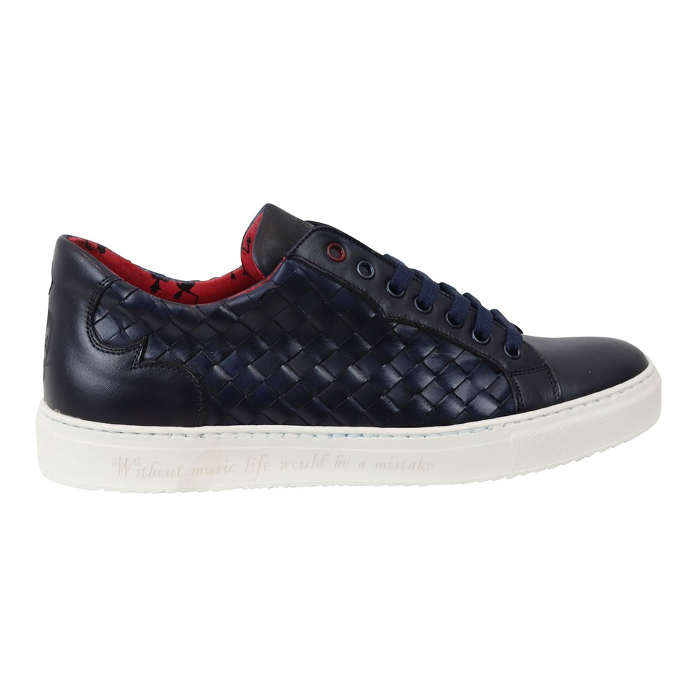 Jeffery West Apolo Woven Leather Trainers Dark Blue