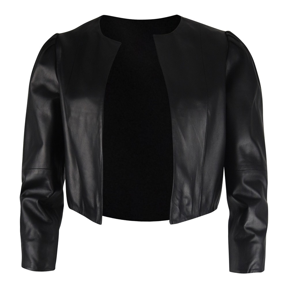 Marella Estonia Cropped Leather Jacket Black