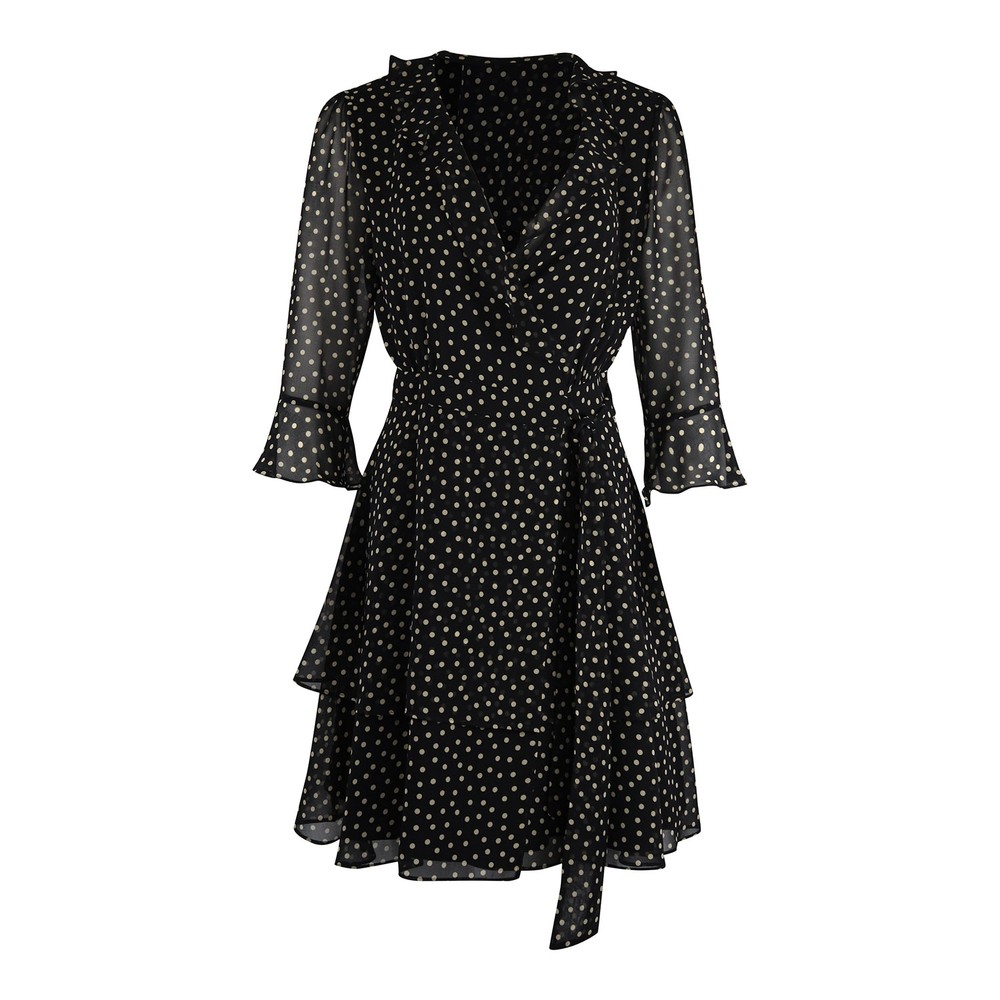 Marella Ikebana Spotted Wrap Dress Black