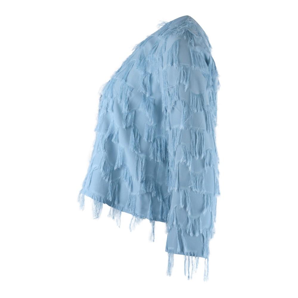 Marella Sahara Fringed Jacket Sky Blue
