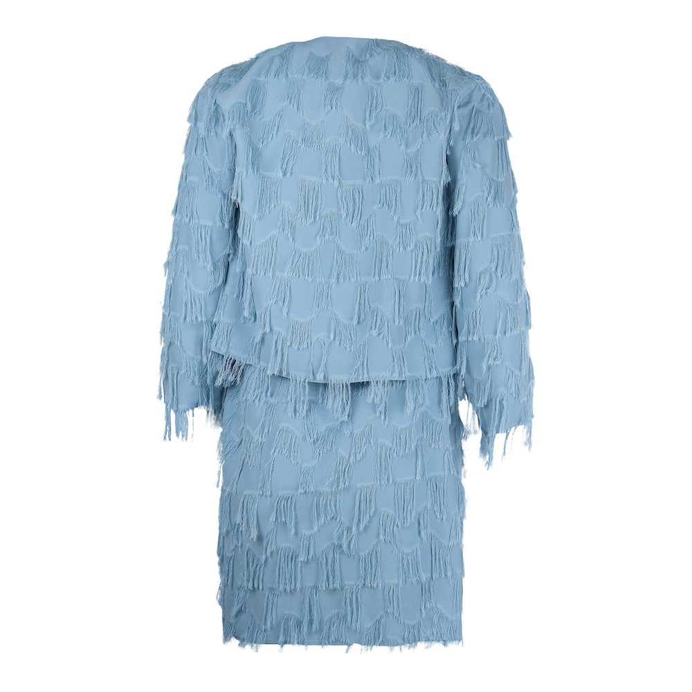 Marella Atelier Strappy Fringed Dress Sky Blue