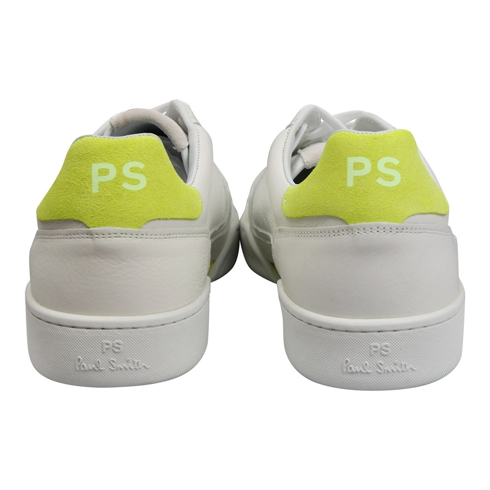 Paul Smith Atlas Fluo Yellow Tab Trainer White