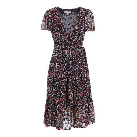 Michael Kors Floral Short Sleeve Wrap Dress