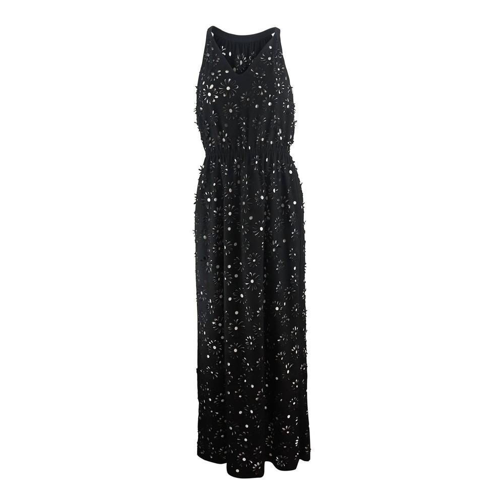 Moschino Boutique Sleeveless Laser Cut Maxi Dress Black
