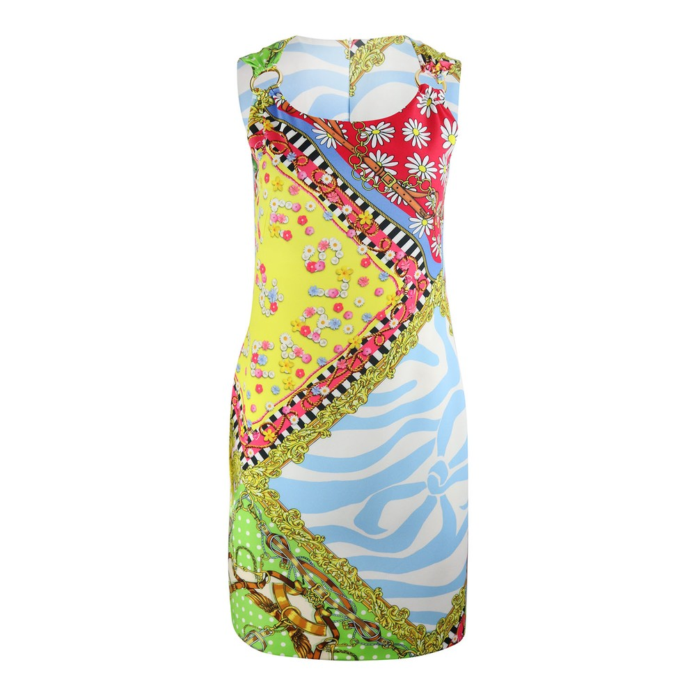 Moschino Boutique Sleeveless Scarf Print Shift Dress Multi