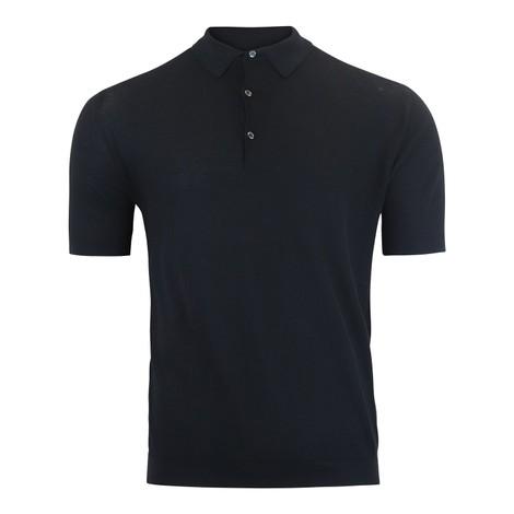 John Smedley Roth Pique Polo Shirt in Black