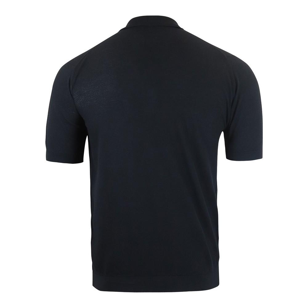 John Smedley Roth Pique Polo Shirt Black
