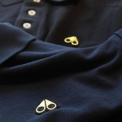 Moose Knuckles Gold Logo Polo Shirt