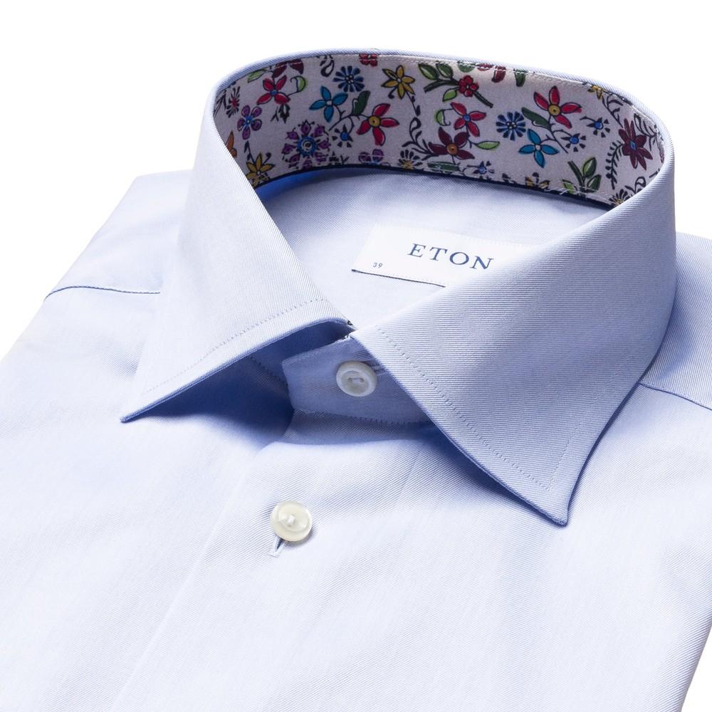 Eton Contemporary Firt Shirt With Flower Drawing Print Collar Trim Blue