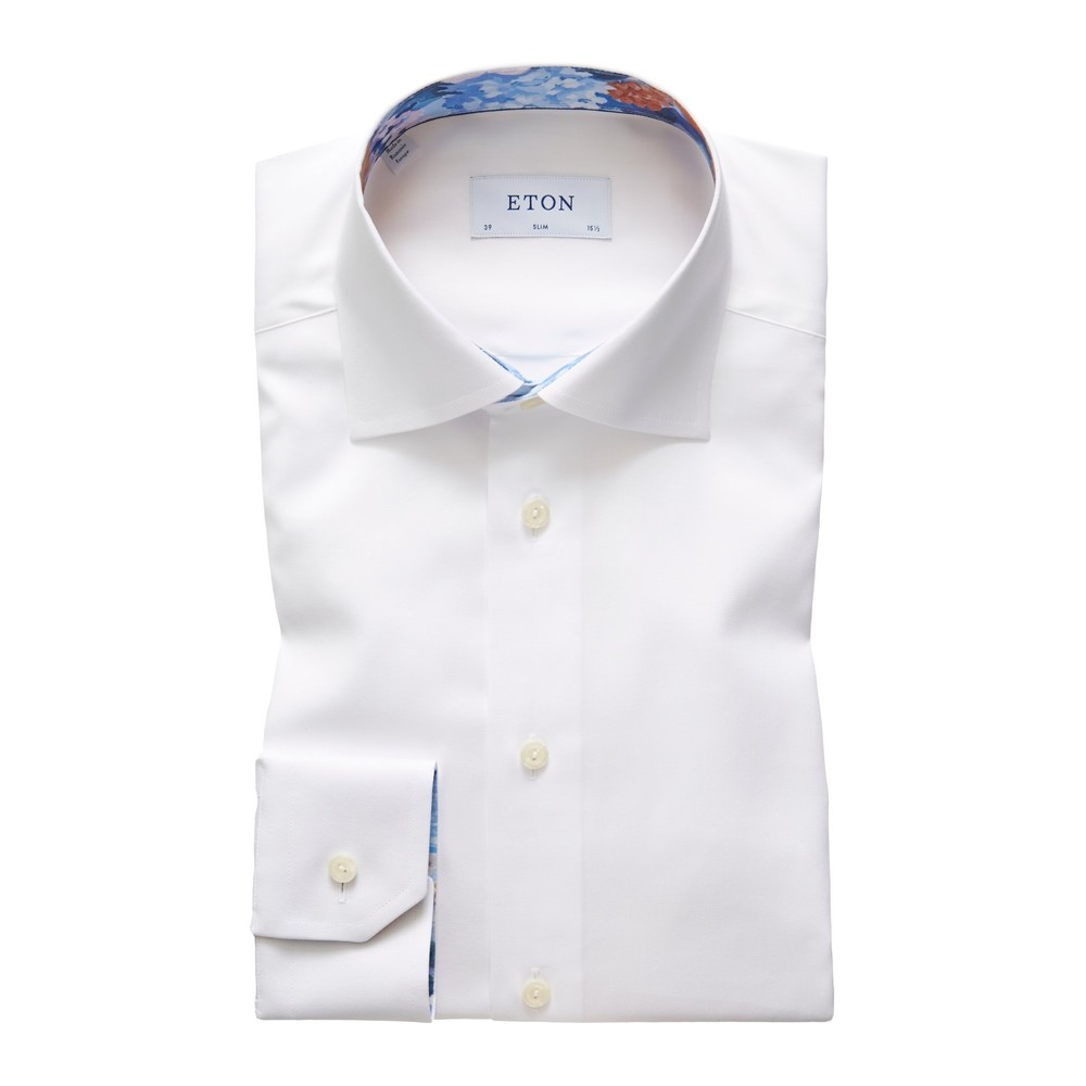 Eton Slim Fit Shirt With Flower Collar Trim White