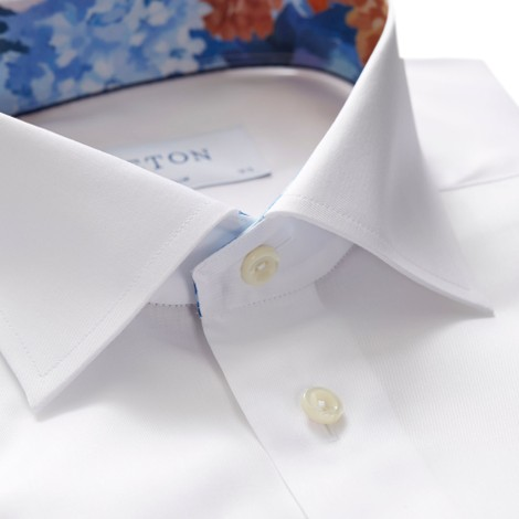 Eton Slim Fit Shirt With Flower Collar Trim