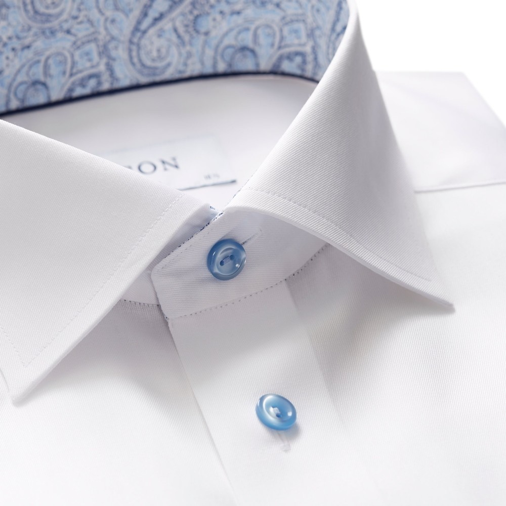 Eton Slim Fit Shirt With Paisley Collar Trim White