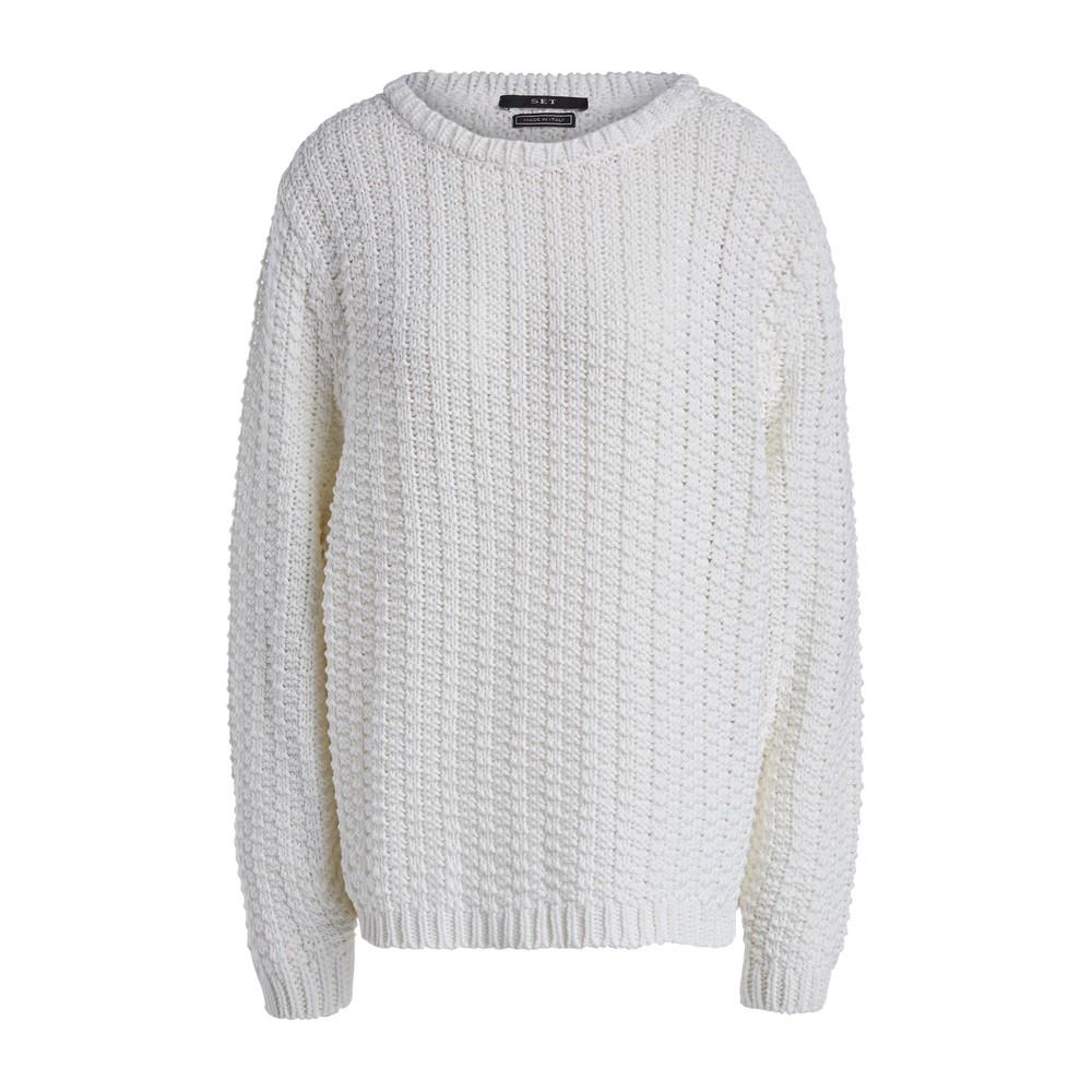 Set Statement Cotton Textured Jumper White
