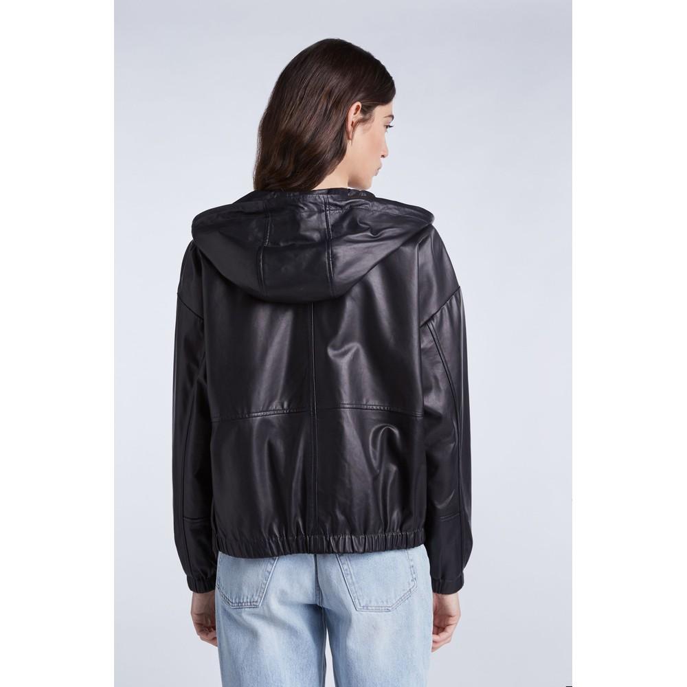 Set Oversized Leather Hoodie Black