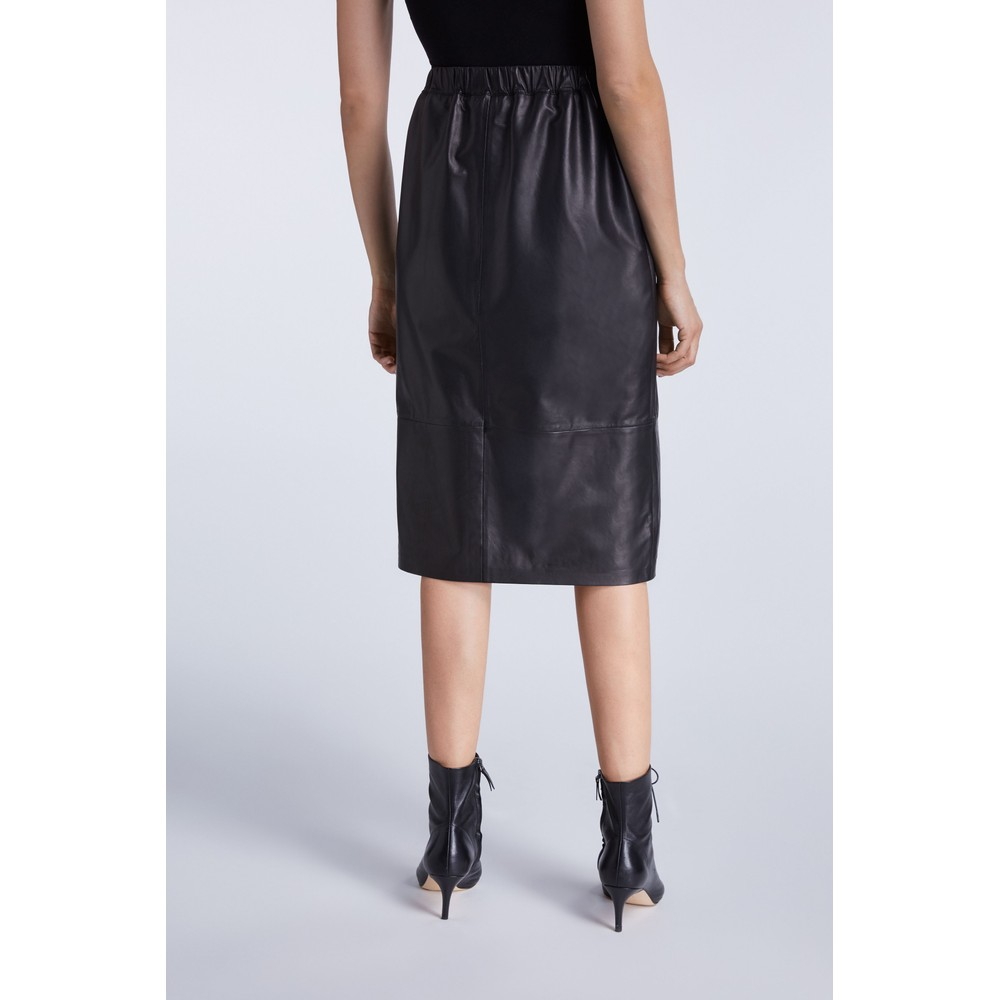 Set Leather Skirt With Slit Detail Black